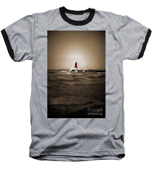 Lighthouse Glow Sepia Spot Color Baseball T-Shirt