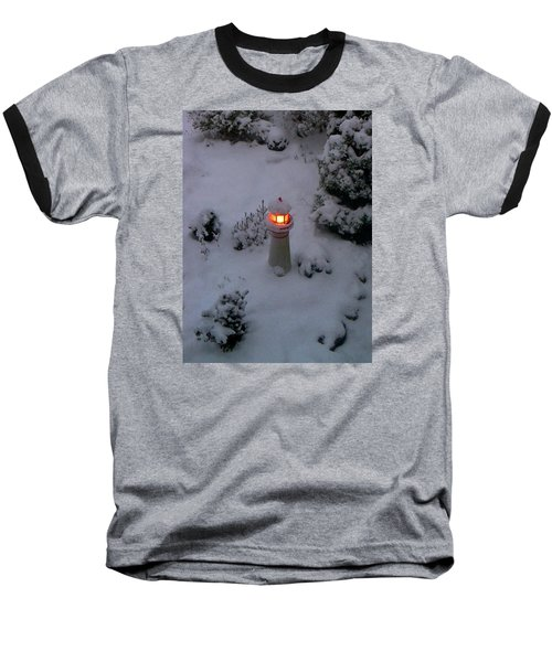 Baseball T-Shirt featuring the photograph Lighthouse In The Snow by Kathryn Meyer