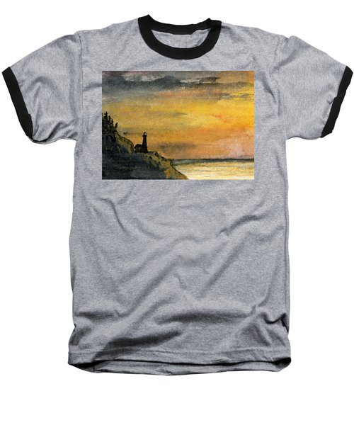 Lighthouse Oversees Coast Baseball T-Shirt by R Kyllo