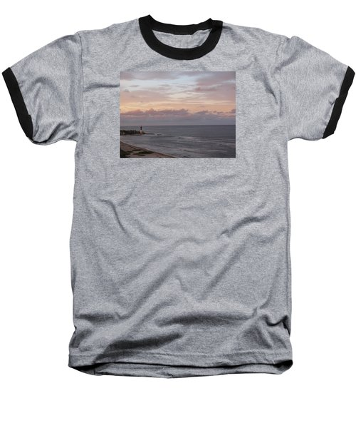 Lighthouse Peach Sunset Baseball T-Shirt