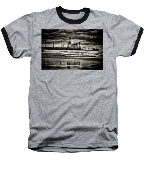 Lighthouse Reflections In Black And White Baseball T-Shirt