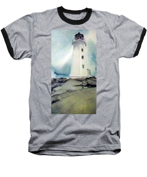 Baseball T-Shirt featuring the painting Lighthouse Rock by Ed Heaton