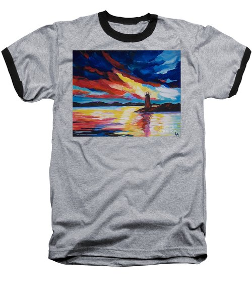 Baseball T-Shirt featuring the painting Lighthouse Storm by Leslie Allen