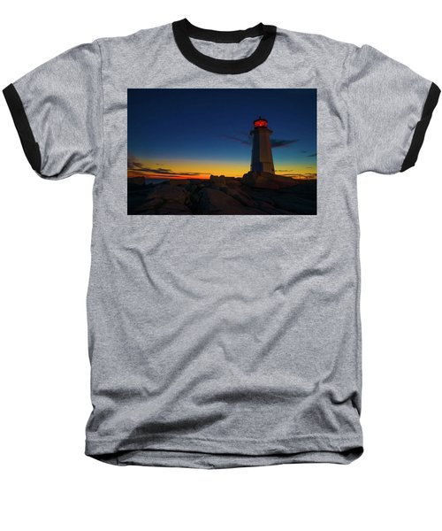 Lighthouse Sunset Baseball T-Shirt by Andre Faubert