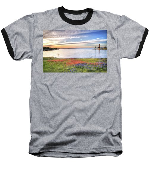Lighthouse Sunset At Lake Buchanan Baseball T-Shirt