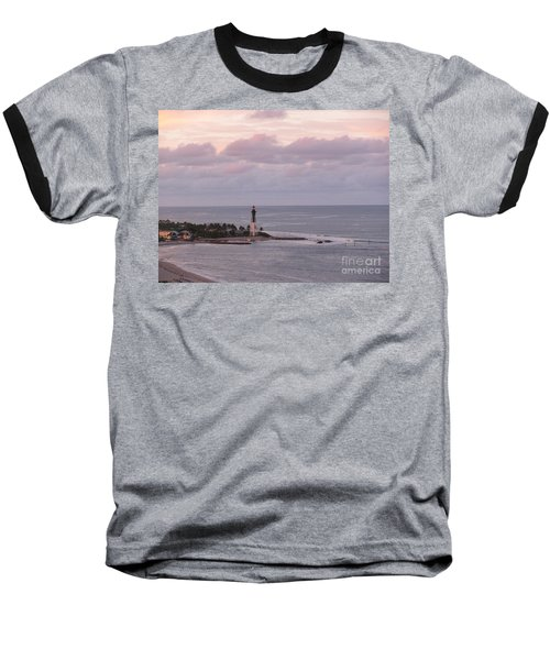 Lighthouse Sunset Peach And Lavender Baseball T-Shirt
