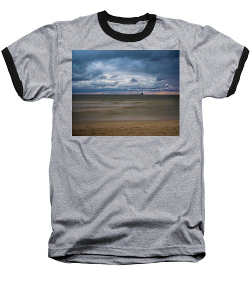 Lighthouse Under Brewing Clouds Baseball T-Shirt