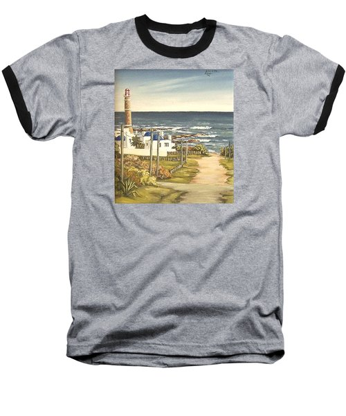 Baseball T-Shirt featuring the painting Lighthouse Uruguay  by Natalia Tejera