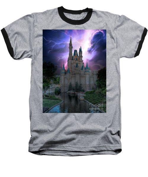 Lighting Over The Castle Baseball T-Shirt