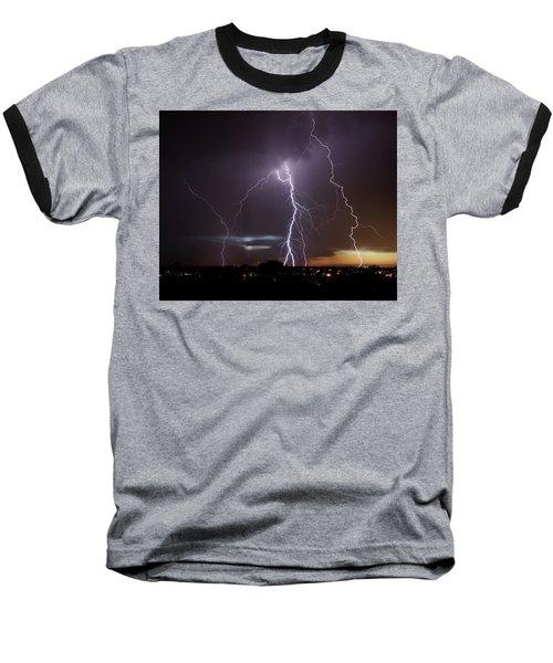 Lightning At Dusk Baseball T-Shirt