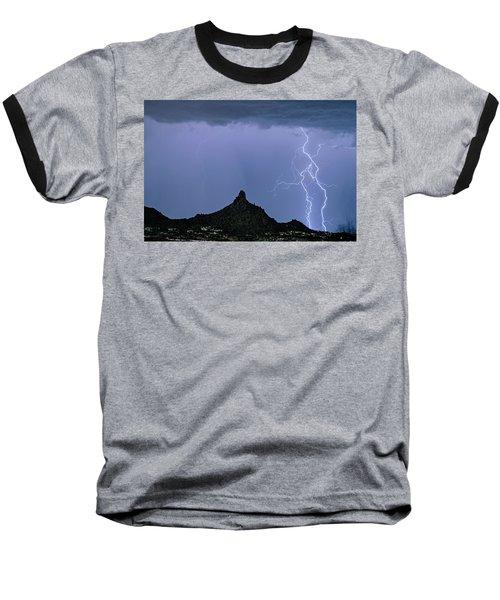Baseball T-Shirt featuring the photograph Lightning Bolts And Pinnacle Peak North Scottsdale Arizona by James BO Insogna