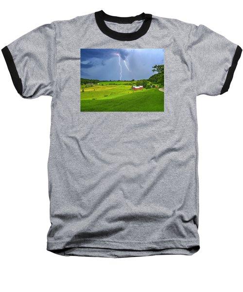 Lightning Storm Over Jenne Farm Baseball T-Shirt