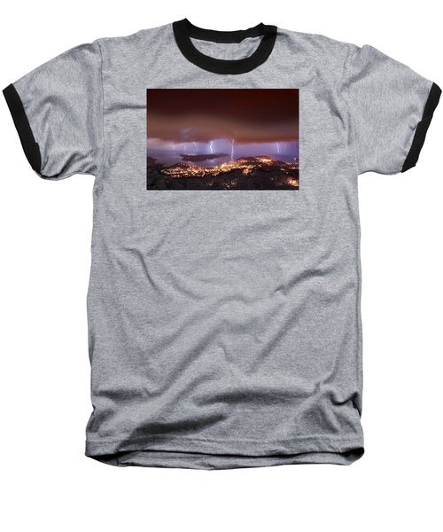 Lightning Over Water Island Baseball T-Shirt