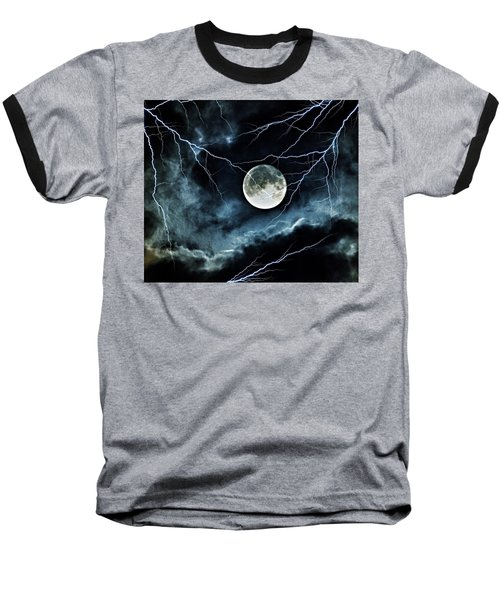 Lightning Sky At Full Moon Baseball T-Shirt