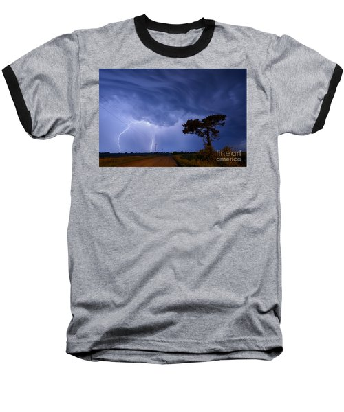Lightning Storm On A Lonely Country Road Baseball T-Shirt