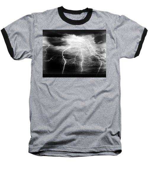 Lightning Storm Over The Plains Baseball T-Shirt by Joseph Frank Baraba