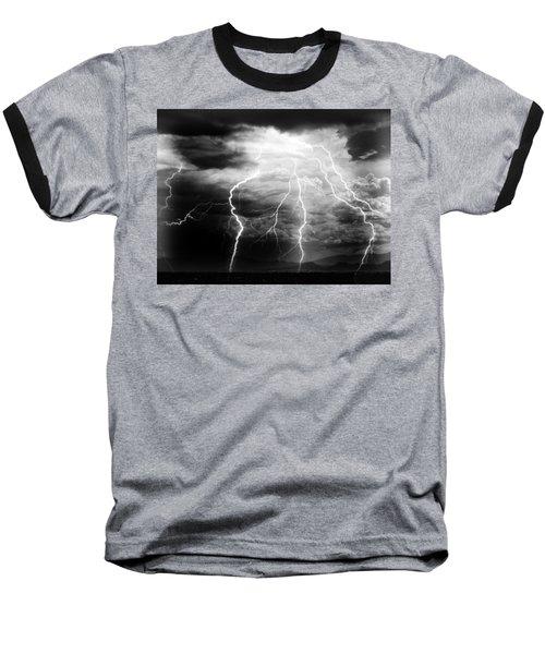 Lightning Storm Over The Plains Baseball T-Shirt