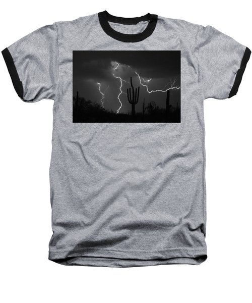 Lightning Storm Saguaro Fine Art Bw Photography Baseball T-Shirt