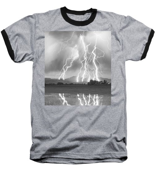 Lightning Striking Longs Peak Foothills 4cbw Baseball T-Shirt