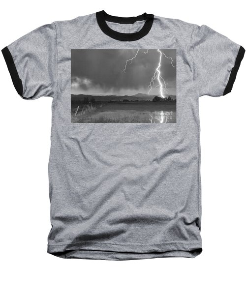 Lightning Striking Longs Peak Foothills 5bw Baseball T-Shirt