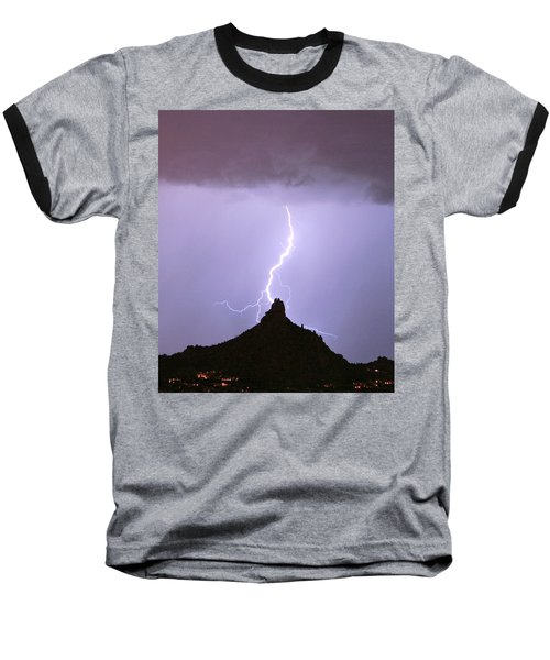 Lightning Striking Pinnacle Peak Scottsdale Az Baseball T-Shirt