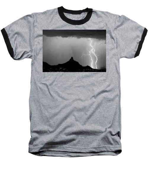 Lightning Thunderstorm At Pinnacle Peak Bw Baseball T-Shirt