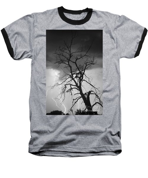 Lightning Tree Silhouette Portrait Bw Baseball T-Shirt