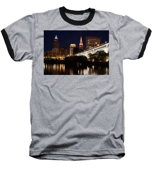 Baseball T-Shirt featuring the photograph Lights In Cleveland Ohio by Dale Kincaid
