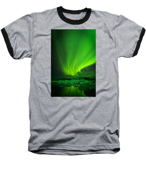 Baseball T-Shirt featuring the photograph Lights Over Jokulsarlon by Chris McKenna