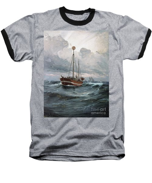 Baseball T-Shirt featuring the painting Lightship At Skagen Reef by Pg Reproductions