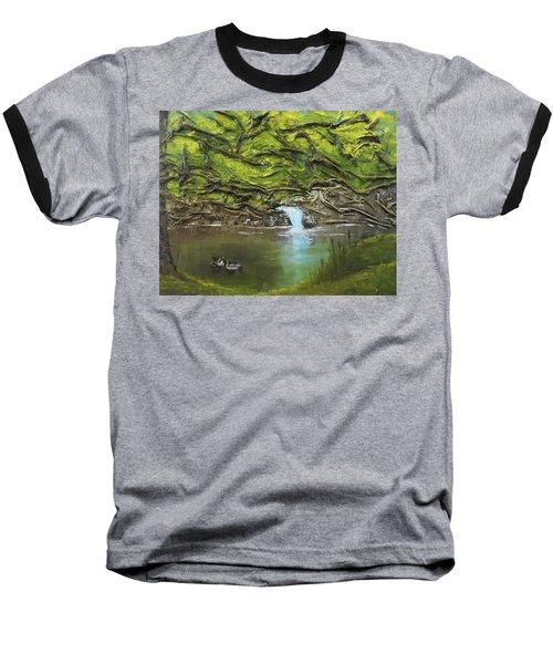 Like Ducks On Water Baseball T-Shirt by Angela Stout