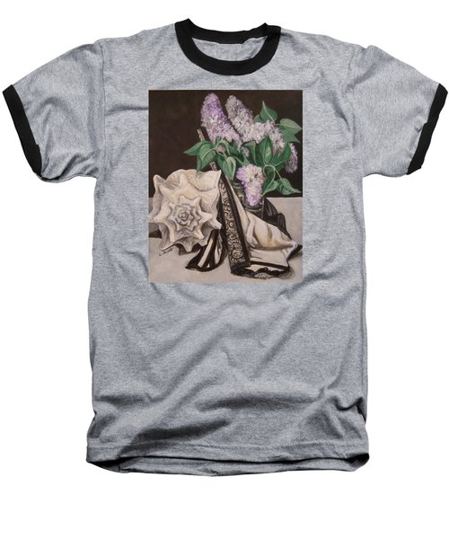 Baseball T-Shirt featuring the painting Lilac And Lingerie by Laura Aceto