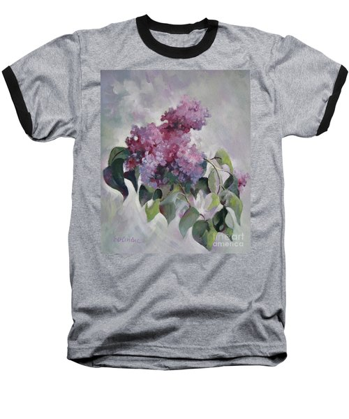 Baseball T-Shirt featuring the painting Lilac by Elena Oleniuc