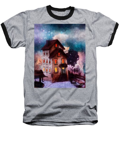 Baseball T-Shirt featuring the painting Lilac Hill by Mo T