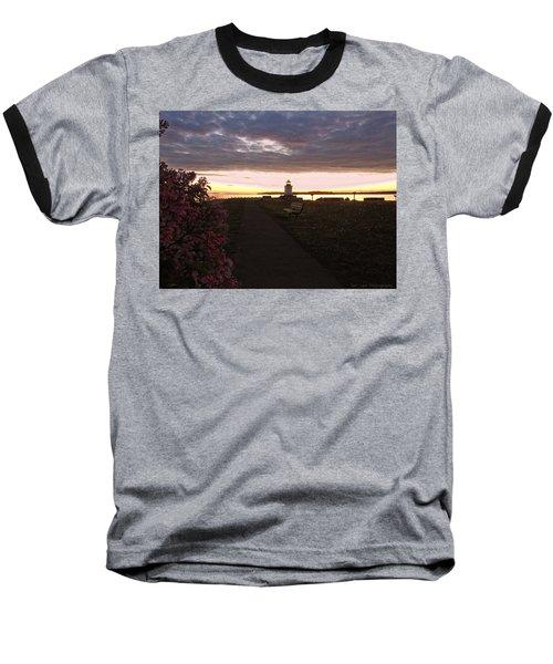 Lilacs At Portland Breakwater Light Baseball T-Shirt