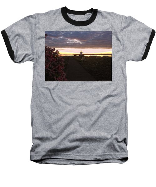 Lilacs At Portland Breakwater Light Baseball T-Shirt