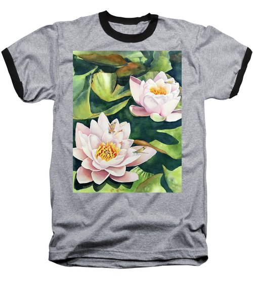 Lilies And Dragonflies Baseball T-Shirt