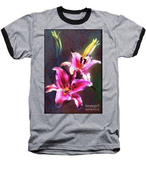 Lilies At Night Baseball T-Shirt