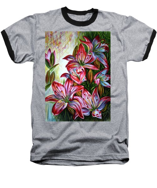Baseball T-Shirt featuring the painting Lilies by Harsh Malik