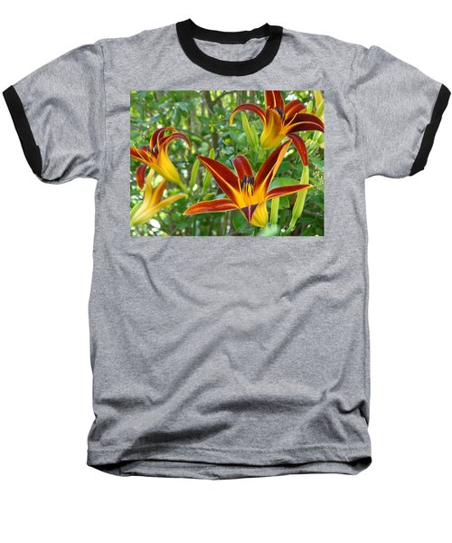 Lilies Sunrise Baseball T-Shirt by Rebecca Overton