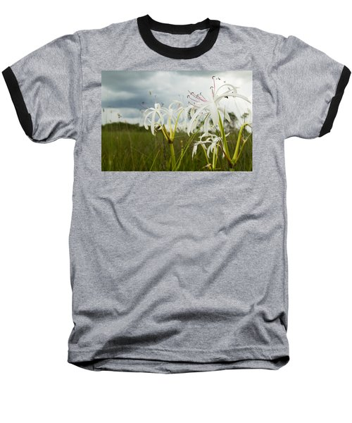 Lilies Thunder Baseball T-Shirt by Christopher L Thomley