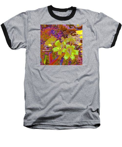 Lily Glow Yellow Baseball T-Shirt by M Diane Bonaparte