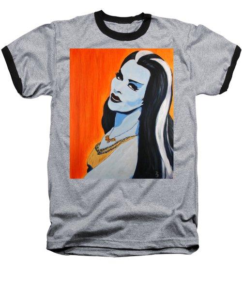 Baseball T-Shirt featuring the painting Lily Munster - Yvonne De Carlo by Bob Baker