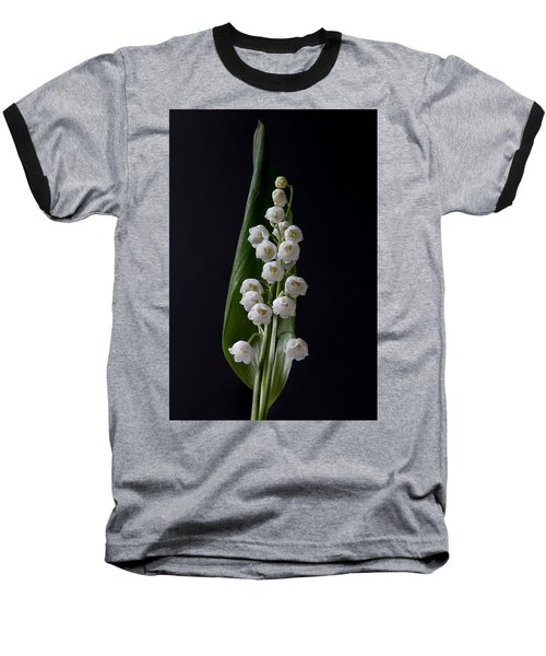 Lily Of The Valley On Black Baseball T-Shirt