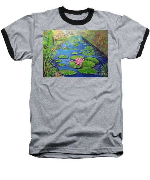Water Lily Canal Baseball T-Shirt by Ecinja Art Works