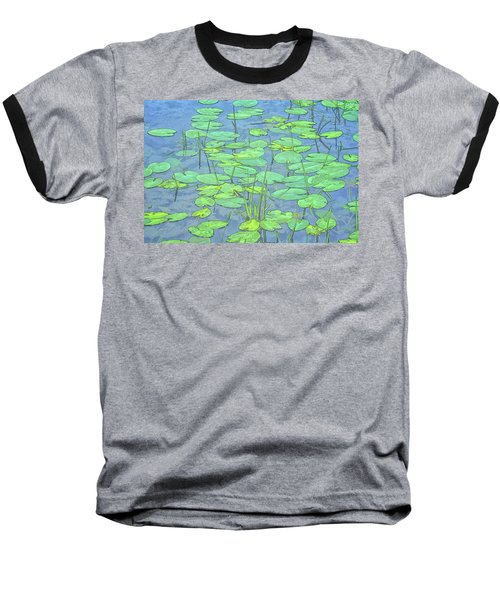 Lily Pads -coloring Book Effect Baseball T-Shirt by Constantine Gregory