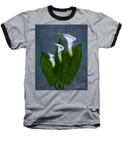 Baseball T-Shirt featuring the painting White Calla Lilies by Peter Piatt