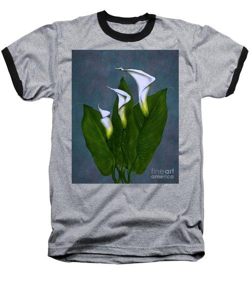 White Calla Lilies Baseball T-Shirt by Peter Piatt