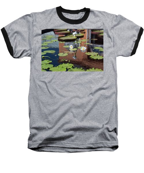 Lily Pond Reflections Baseball T-Shirt by Suzanne Gaff