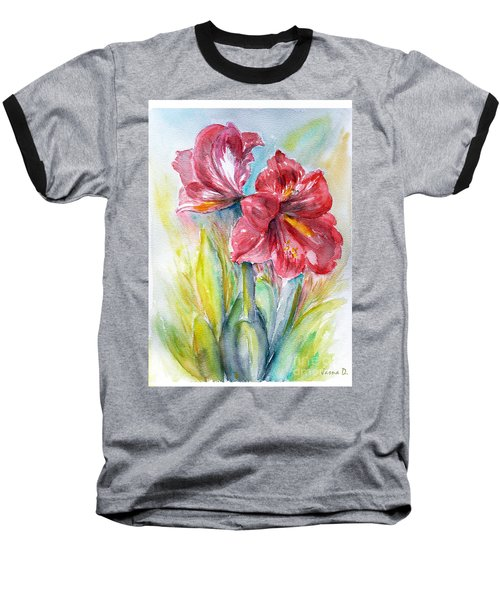 Lily Red Baseball T-Shirt by Jasna Dragun